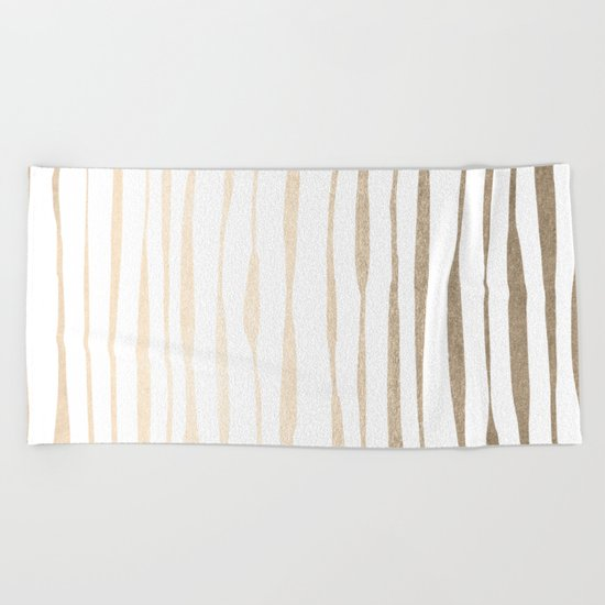 White Gold Sands Ink Pinstripes Beach Towel