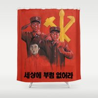 military Shower Curtains featuring Military in North Korea by kaliwallace
