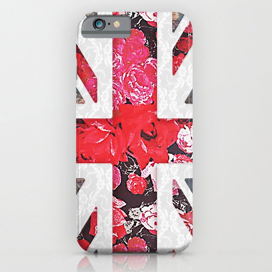 God save the Queen | Elegant girly red floral & lace Union Jack  iPhone & iPod Case