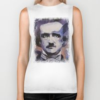 edgar allan poe Biker Tanks featuring Edgar Allan Poe by Michael Creese