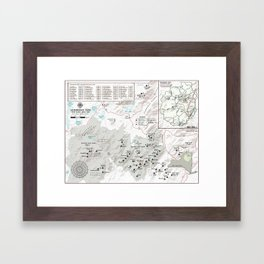 Adirondack 46 High Peaks Map [Black and White] Framed Art Print