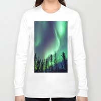 northern lights Long Sleeve T-shirts featuring Northern Lights in Yellowknife by Vincent Demers