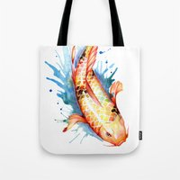 koi Tote Bags featuring Koi by Sam Nagel