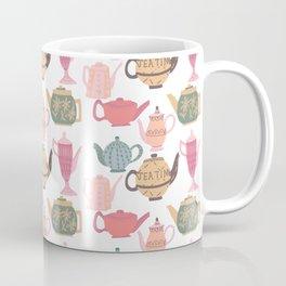 Vintage Tea Pots Time for Tea Multi on White Art Throw Pillow Coffee Mug