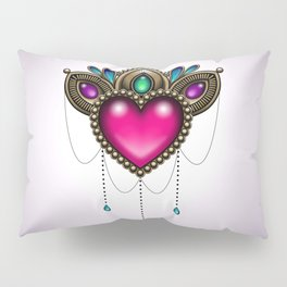 Heart of Stones - Victorian Tattoo Style Gems and Jewels Pillow Sham