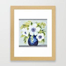 Anemones in vase Framed Art Print