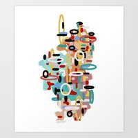 mid century Art Prints featuring Mid Century One by Tina Carroll
