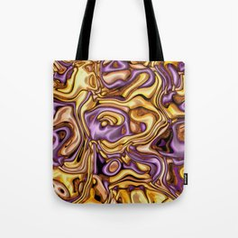 funky melted purple and gold Tote Bag