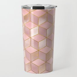 PINK CHAMPAGNE GRADIENT CUBE PATTERN (Gold Lined) Travel Mug