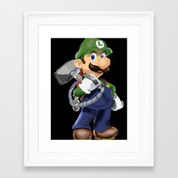 luigi Framed Art Prints featuring Luigi by Halohappy