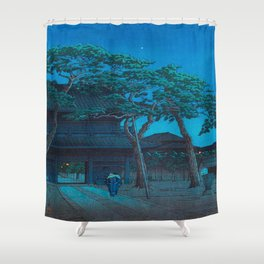 Japanese Woodblock Print Night Shrine Man Carrying Child Shower Curtain
