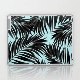 Palm Tree Fronds Black on Cyan Hawaii Tropical Laptop & iPad Skin