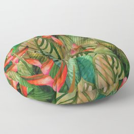 Painted Jungle Leaves 2 Floor Pillow