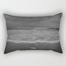 A lonely sea shell in the surf of Assateague Island (black and white) Rectangular Pillow