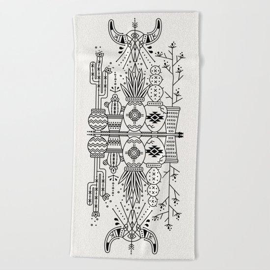 Santa Fe Garden – Black Ink Beach Towel