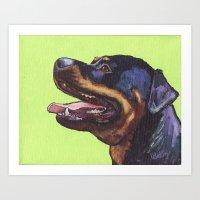 rottweiler Art Prints featuring Rottweiler  by ArtEndeavors