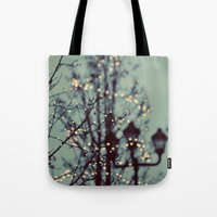 winter Tote Bags featuring Winter Lights by elle moss