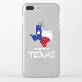 Proud to be Texas State Map Outline Distressed Clear iPhone Case