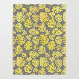 Leaves in Yellow and Grey Pattern Poster