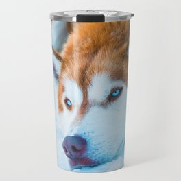 Sleepy Orange Siberian Husky (Color) Travel Mug
