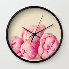 Blush Peonies  Wall Clock