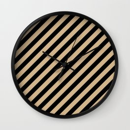 Tan Brown and Black Diagonal RTL Stripes Wall Clock