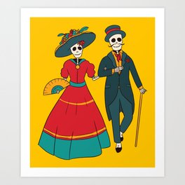 Catrina Couple Mexican Day Of The Dead Art Print