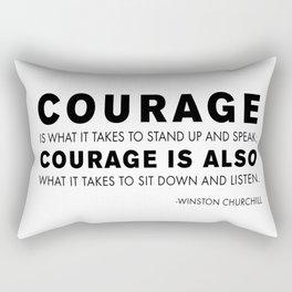 Courage quote - Winston Churchill Rectangular Pillow
