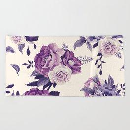 Purple floral boho pattern Beach Towel