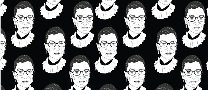 Ruth Bader Ginsburg, Large BW Pattern Kaffeebecher