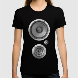 Subwoofer Speaker on black T-shirt