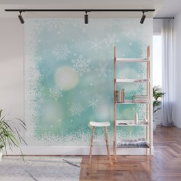 Blue Snowflakes Blur Lights Snowing Modern Winter Pattern Wall Mural