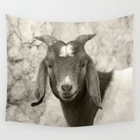 goat Wall Tapestries featuring Smiling Goat by BACK to THE ROOTS