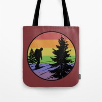 hiking Tote Bags featuring Hiking by Paul Simms