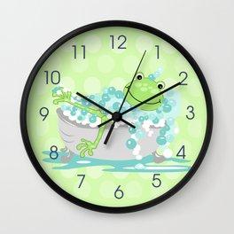 Frog in Bath Tub Kids Shower Bathroom Art Wall Clock
