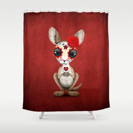 Red Day of the Dead Sugar Skull Baby Kangaroo Shower Curtain