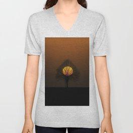 Yellow Moon Twilight Landscape Photograph Unisex V-Neck