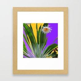 PURPLE DESERT CACTI & FLOWERS Framed Art Print