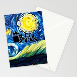 Tardis With The Doctors And Starry Night Stationery Cards