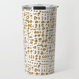 Trendy Yellow Doodle and Abstract Drawn Cryptic Travel Mug