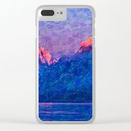 A nice and calm sunrise at Lake McDonald Clear iPhone Case