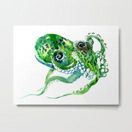 Beach art, green Octopus, sea world, aquatic nautical octopus art Metal Print