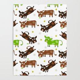 Cow Pattern | Cow Spots Farm Farmer Animal Milk Poster