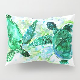 Sea Turtles Underwater Scene Turquoise Blue design, bright blue green design Pillow Sham