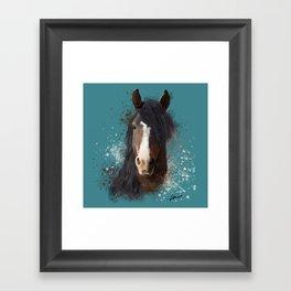 Black Brown Horse Artwork Framed Art Print
