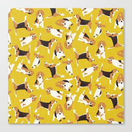 beagle scatter yellow Canvas Print