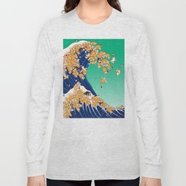 Christmas Shiba Inu The Great Wave Long Sleeve T-shirt
