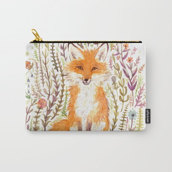 Fox and Flowers II Carry-All Pouch