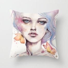 With Elegance (female Portrait) Throw Pillow