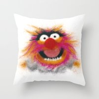 muppets Throw Pillows featuring Animal, The Muppets by KitschyPopShop